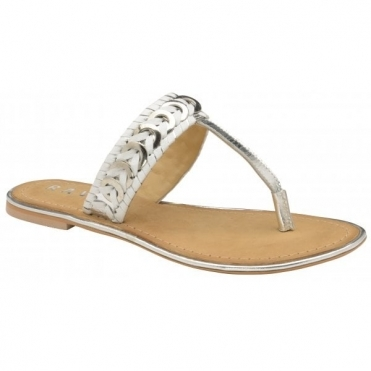 White Desoto Leather Flat Mule Sandals | Ravel