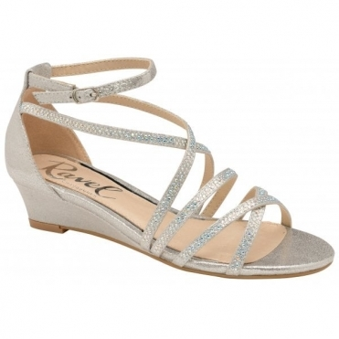 155e27d5db55 Silver Rosa Wedge Sandals