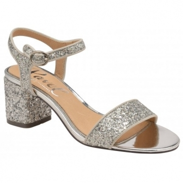Silver Glitter Walton Heeled Open-Toe Sandals  | Ravel