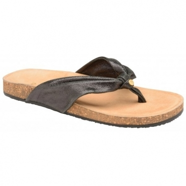 Black Glade Leather Toe-Post Sandals | Ravel