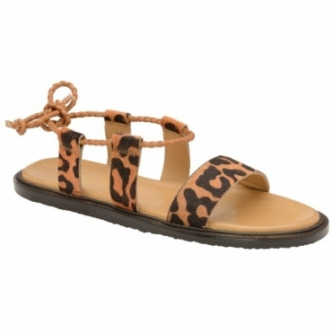 Leopard Pony Elma Leather Flat Sandals | Ravel