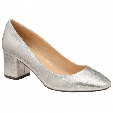 Silver Barton Block Heel Court Shoes | Ravel