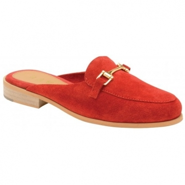 Red Brooker Suede Backless Loafers | Ravel