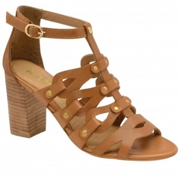 Tan Jackson Leather Heeled Sandals | Ravel