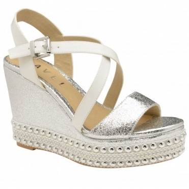 Silver Yulee Wedge Open-Toe Sandals | Ravel