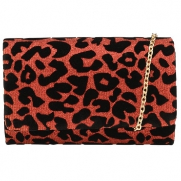 Red Sparkle Leopard-Print Picton Clutch Bag | Ravel