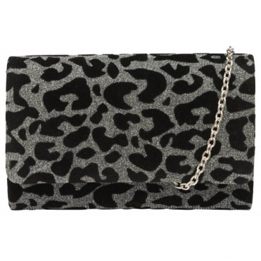 Silver Sparkle Leopard-Print Picton Clutch Bag | Ravel