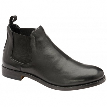 Black Graven Leather Slip-On Ankle Boots | Ravel