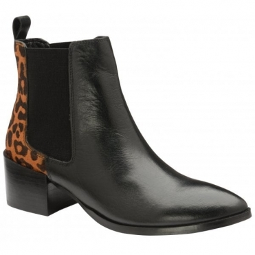 Black/Leopard Saxman Leather Heeled Ankle Boots | Ravel