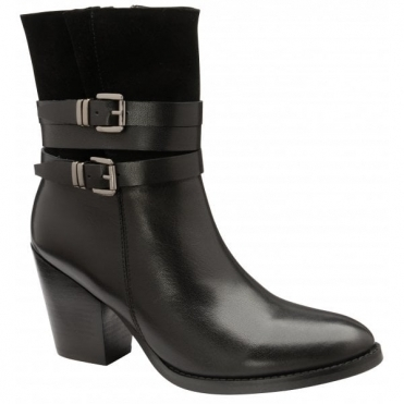 Black Shores Leather Heeled Ankle Boots | Ravel
