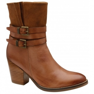 Brown Shores Leather Heeled Ankle Boots | Ravel