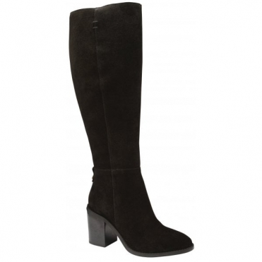 Black Albury Suede Heeled Knee High Boots | Ravel