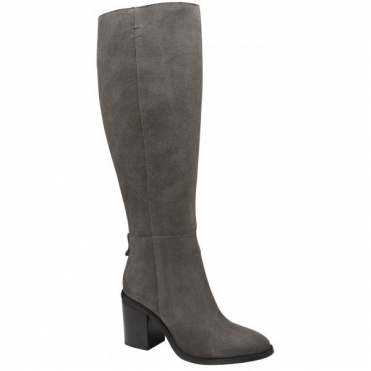 Grey Albury Suede Heeled Knee High Boots | Ravel