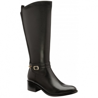 Black Raglan Leather Knee High Boots | Ravel