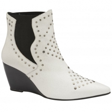 White Reefton Leather Wedge Ankle Boots | Ravel
