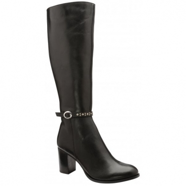 Black Roxburgh Leather Heeled Knee-High Boots | Ravel