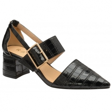 Black Croc-Print Mayfield Shoes | Ravel