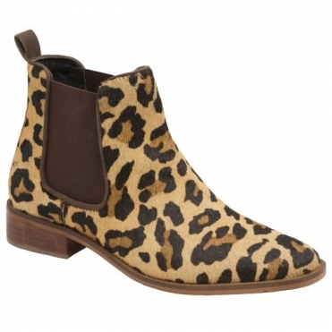 Leopard-Print Gisborne Leather Slip-On Ankle Boots | Ravel