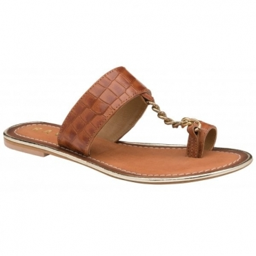 Tan Croc-Print Taree Leather Mule Sandals | Ravel
