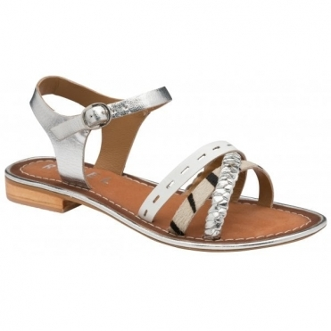 Silver/White Cudal Leather Flat Sandals | Ravel