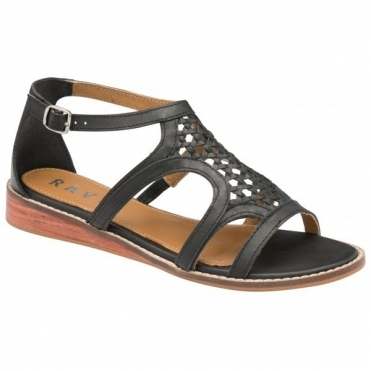 Black Cardwell Leather Wedge Sandals | Ravel