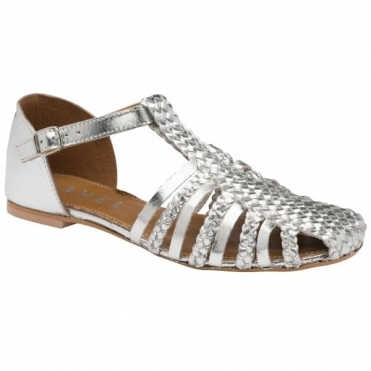 Silver Gladstone Leather Flat Sandals | Ravel