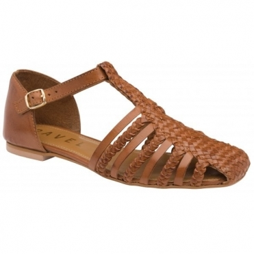 Tan Gladstone Leather Flat Sandals | Ravel