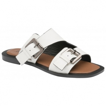 White Kintore Leather Mule Sandals | Ravel