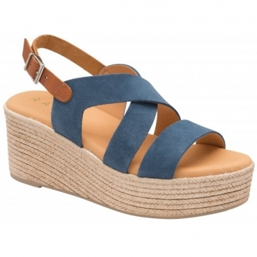 Navy Wilga Suede Wedge Sandals | Ravel