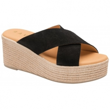 Black Aveley Suede Wedge Mule Sandals | Ravel