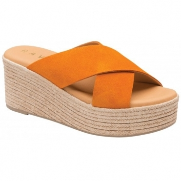 Orange Aveley Suede Wedge Mule Sandals | Ravel