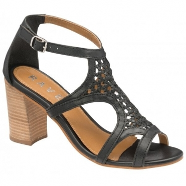 Black Coreen Leather Heeled Sandals | Ravel