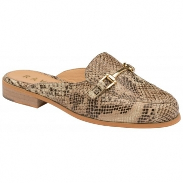 Snake-Print Brooker Leather Backless Loafers | Ravel