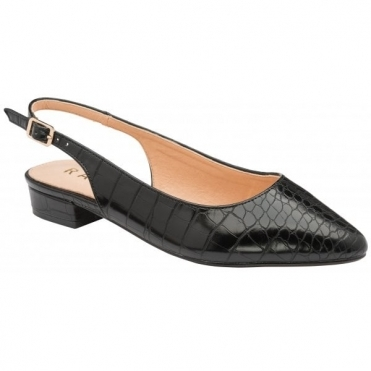 Black Croc-Print Highlands Slingback Flat Shoes | Ravel