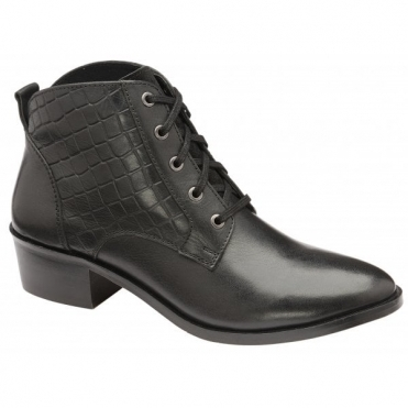 Black Gambell Leather Ankle Boots | Ravel