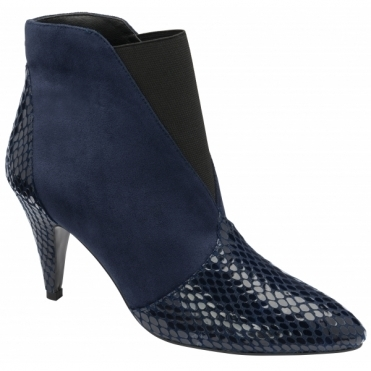 Navy Snake-Print Baracoa Pull-On Boots | Ravel