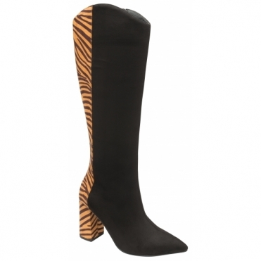 Black & Tan Zebra-Print Grande Knee High Boots | Ravel