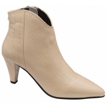 Ivory Croc-Print Levisa Leather Ankle Boots | Ravel