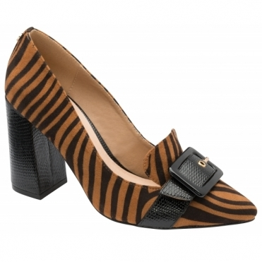Tan Zebra-Print Lincoln Block-Heel Court Shoes | Ravel
