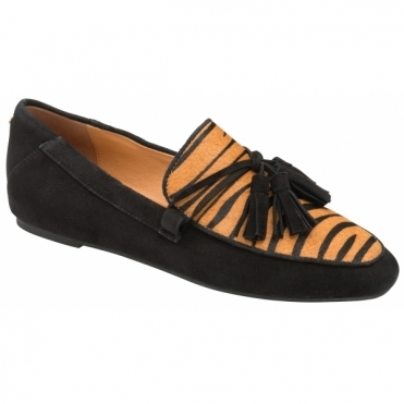 Black & Tan Zebra-Print Mayari Loafers | Ravel