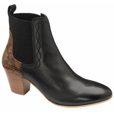 Black Snake-Print Moa Leather Ankle Boots  | Ravel