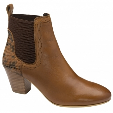Tan Snake-Print Moa Leather Ankle Boots   | Ravel