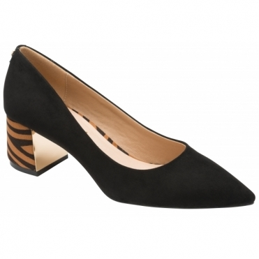 Black & Tan Zebra-Print Oro Court Shoes | Ravel