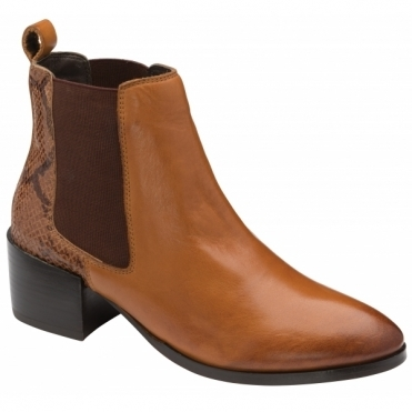 Tan/Snake Saxman Leather Ankle Boots | Ravel