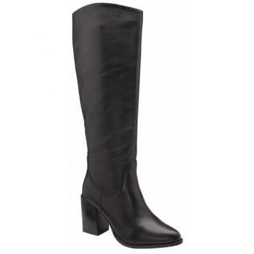 Black Heeled Lumsden Leather Knee High Boots | Ravel