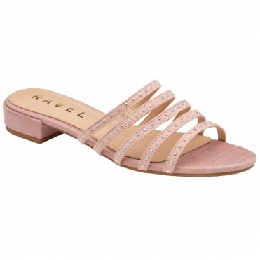 Blush Alena Flat Mule Sandals | Ravel