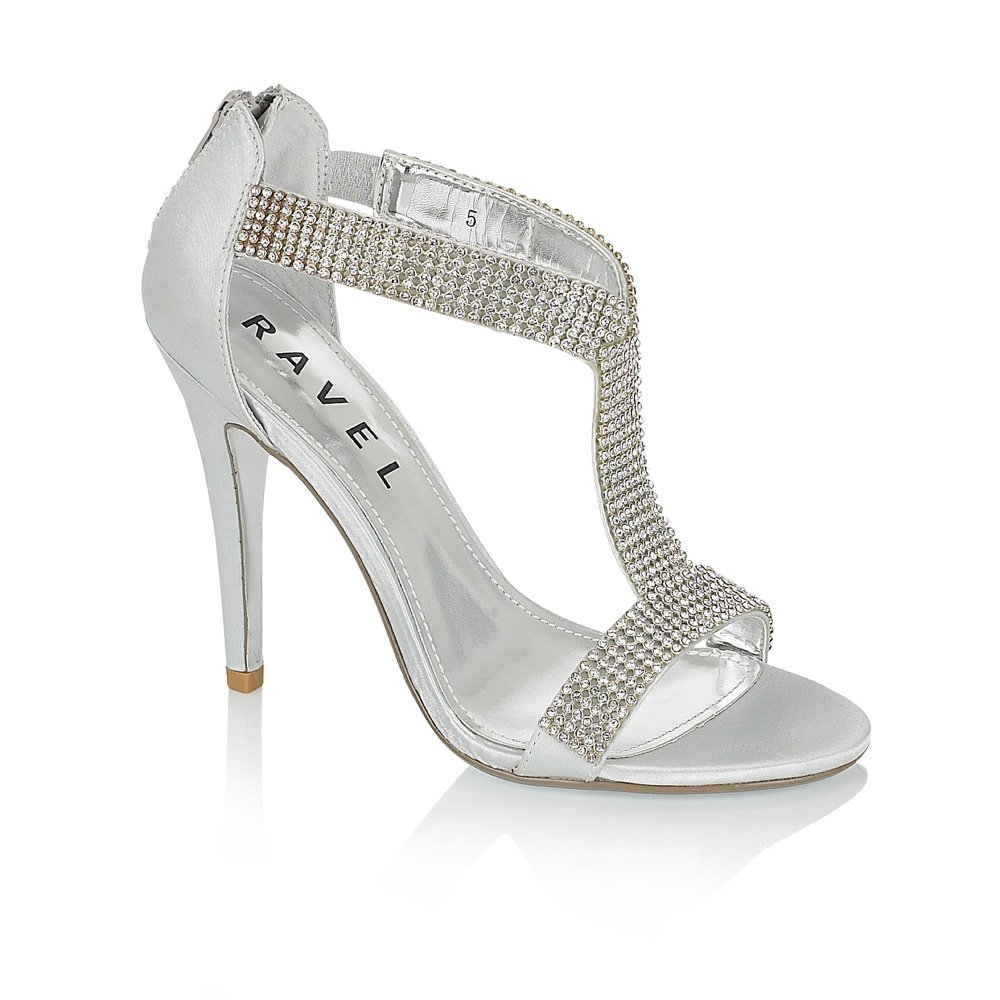 Buy Ladies Silver Heeled Shoes