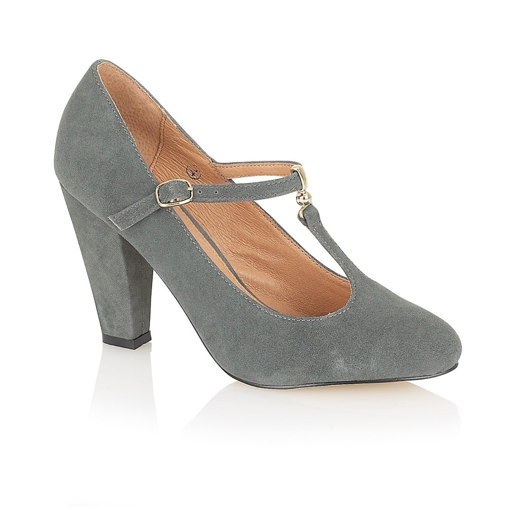 Grey Heeled Court Shoes