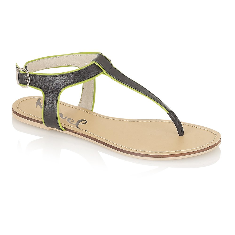 Black sandals flat - Ravel Lizbeth Flat Sandals Black Lime Green Leather