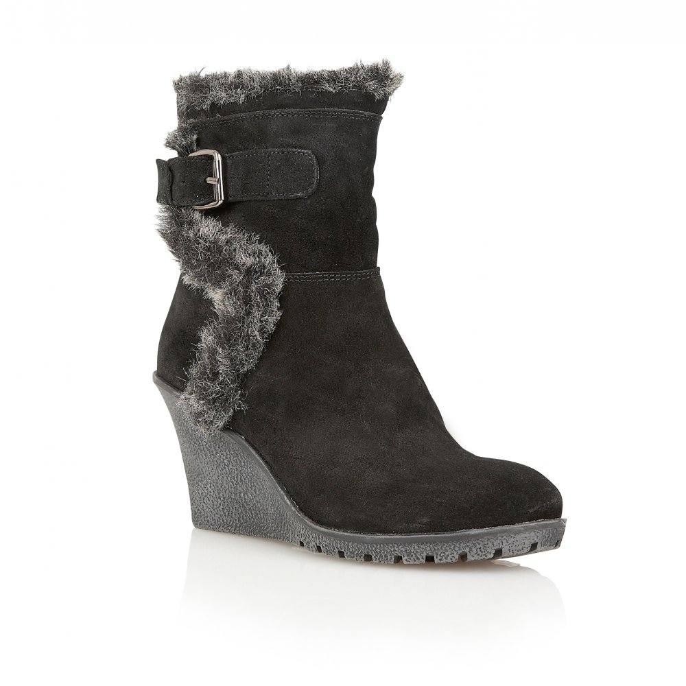 Buy Ravel ladies Alabama wedge ankle boots online in black suede